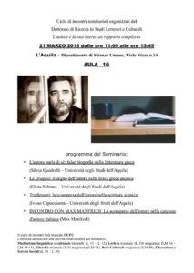 La scomparsa dell'autore nella canzone d'autore italiana @ Dipartimento di Scienze Umane (Aula 1G) - L'Aquila   L'Aquila   Abruzzo   Italia
